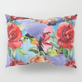 Hand painted abstract red orange watercolor roses floral pattern Pillow Sham