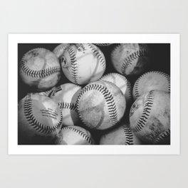Baseballs in Black and White Art Print