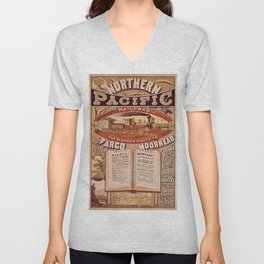 Vintage Northern Pacific Railroad Pioneer Route Broadside Poster Advertisement Unisex V-Neck