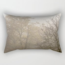 Autumnal naked trees surrounded by fog Rectangular Pillow