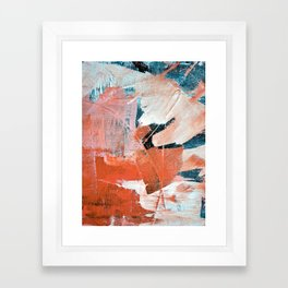 Interrupt [3]: a pretty minimal abstract acrylic piece in pink white and blue by Alyssa Hamilton Art Framed Art Print