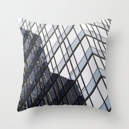 blue glass and steel abstract urban design Throw Pillow