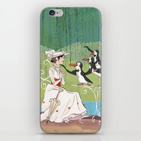 mary poppins iPhone & iPod Skins featuring Mary Poppins by Lesley Vamos