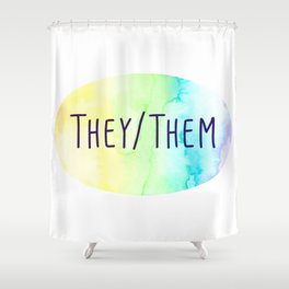 They Them Pronouns (Watercolor Rainbow) Shower Curtain