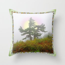 TSUGA MERTENSIANA IN AN AUTUMN CLOUD Throw Pillow