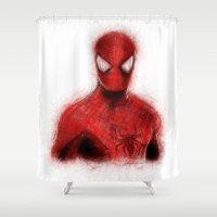 spider man Shower Curtains featuring Spider-Man by KitschyPopShop