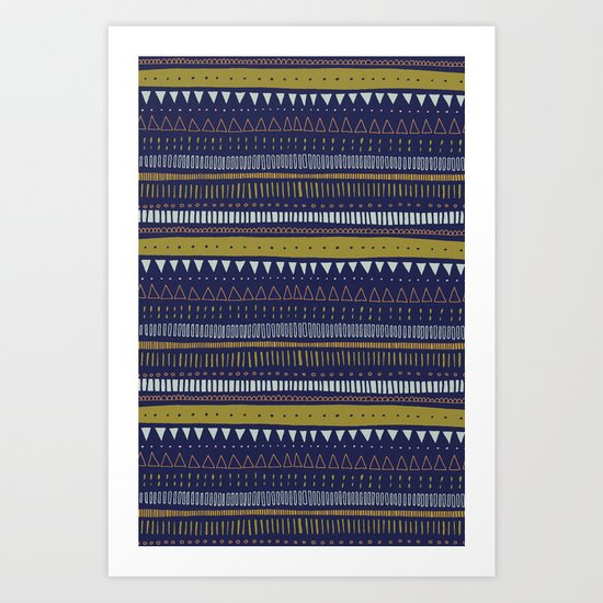 Dark Blue Pattern Art Print