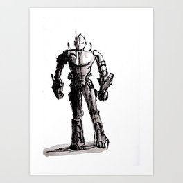 Robot ink drawing Art Print