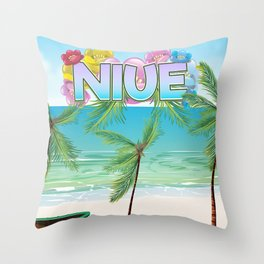 Niue South Pacific travel poster Throw Pillow