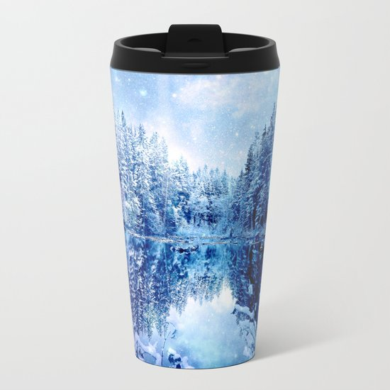 Blue Winter Wonderland : Forest Mirror Lake Metal Travel Mug