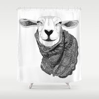 knitting Shower Curtains featuring Knitting Sheep by Berit Lysdal Baerentsen