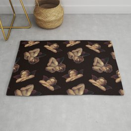 Classical Cherub Toss in Black Onyx Rug