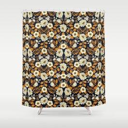 Navy Blue, Orange, Cream, Gold & White Floral Pattern Shower Curtain