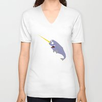 narwhal V-neck T-shirts featuring Narwhal by anto harjo