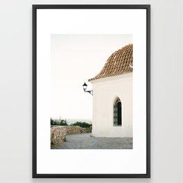 "Travel photography ""Ibiza white""   Modern wall art Ibiza Spain coast white tones sunset Framed Art Print"