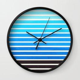 Cerulean Blue Minimalist Abstract 15 Stripes Watercolor Gradient Wall Clock