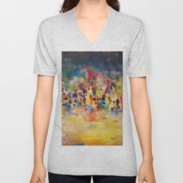 African American Masterpiece 'Untitled' No. 3 by Norman Lewis Unisex V-Neck