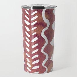 Loose boho chic pattern - purple brown Travel Mug