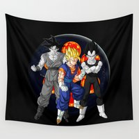 dbz Wall Tapestries featuring DBZ - Mighty Fusion by Mr. Stonebanks