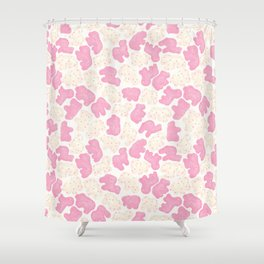 Frosted Animal Cookies on White Shower Curtain