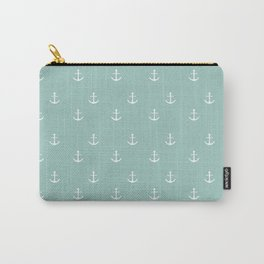 Maine Blue Anchor Print Carry-All Pouch
