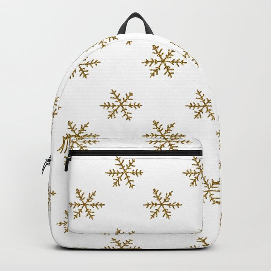 Merry christmas- Gold glitter snowflakes- Winter pattern Backpack