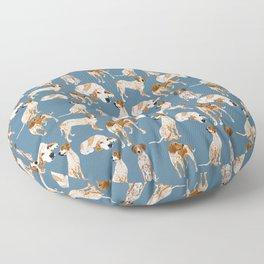 Redtick Coonhound on blue grey Floor Pillow