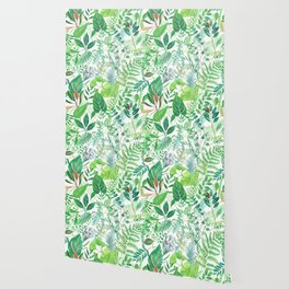 greenery watercolor pattern Wallpaper