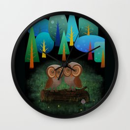 Owl Pals In The Forest Wall Clock