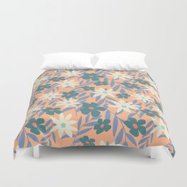 Just Peachy Floral Duvet Cover