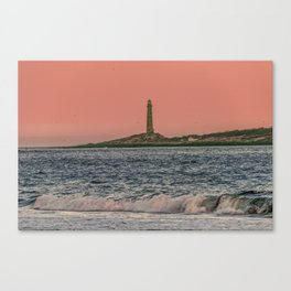 Pink sky and the Thacher's Islands north tower Canvas Print