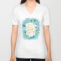 fitzgerald V-neck T-shirts featuring Zelda Fitzgerald – Blue on Black by Cat Coquillette