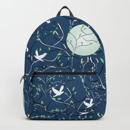 Art Nouveau Moon with Doves (Blue and Silver) Backpack