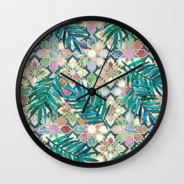 Muted Moroccan Mosaic Tiles with Palm Leaves Wall Clock