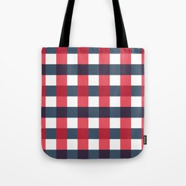 Red White and Blue Gingham Check Pattern Tote Bag