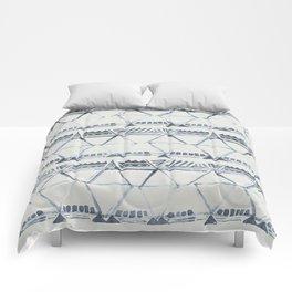 Simply Tribal Shibori in Indigo Blue on Lunar Gray Comforters