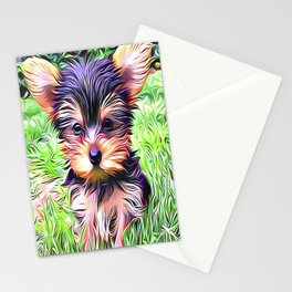 A Cute Teacup Yorkshire Terrier Stationery Cards