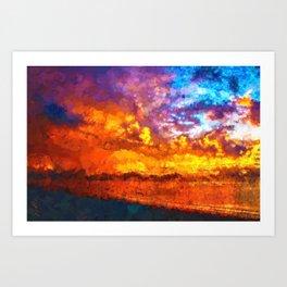 Beach Sunset I Art Print