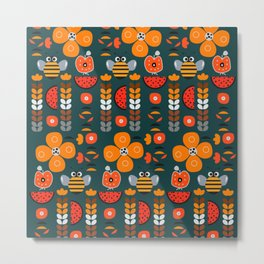 Modern decor with funny bees Metal Print