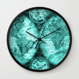 Vintage Turquoise Green Map Design Wall Clock