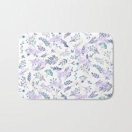 Botanical navy blue lilac watercolor summer floral Bath Mat