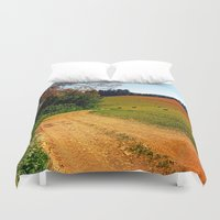 hiking Duvet Covers featuring Hiking trail through springtime nature by Patrick Jobst