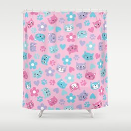 Kitty Cat Pattern by Everett Co Shower Curtain