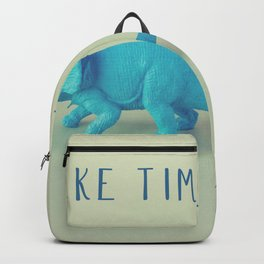 Make Time to Play - Blue and Purple Dino on Green Backpack