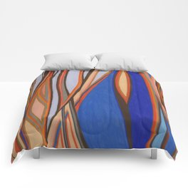 Retro Blues Browns Oranges Line Design with Pastels by annmariescreations Comforters
