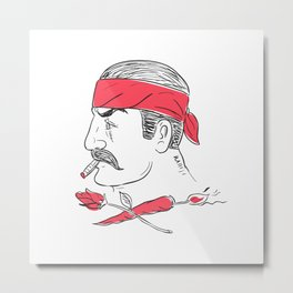 Mexican Guy Cigar Hot Chili Rose Drawing Metal Print