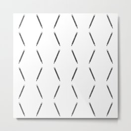 Pen pattern - black and white Metal Print