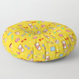 Coffee cup hipster pattern, yellow polka dot cool sunglasses pattern Floor Pillow
