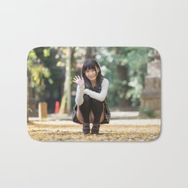 A Voyeur Image of a Cute Japanese Girl unaware she is being Photographed Bath Mat