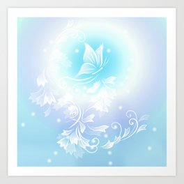 Floral Turquoise Butterfly Fantasy Art Print